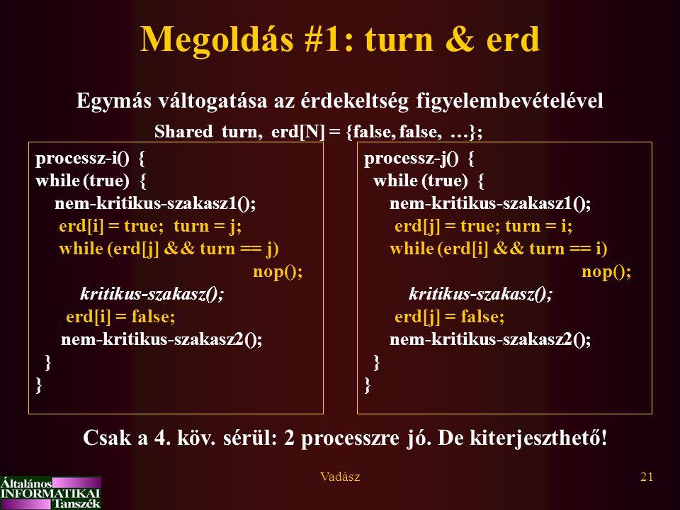 Megoldás #1: turn & erd Egymás váltogatása az érdekeltség figyelembevételével. Shared turn, erd[N] = {false, false, …};